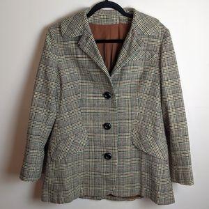 Vintage tweed plaid tailored blazer MD/LG